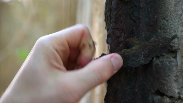 Peeling the rust on brick wall. Metaphor of vanishing