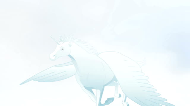 pegasus flying in clouds animation - pegasus stock videos & royalty-free footage