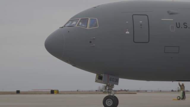 pegasus tanker takes off on its first familiarization flight from mcconnell air force base kansas - pegasus stock videos & royalty-free footage