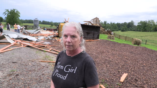 Peggy Shields describes what she says was a tornado that left damage on E Rayletown Road Sunday June 23 2019 in Bloomington Ind A severe storm...