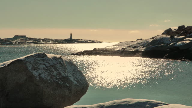 peggys cove in winter - nova scotia stock videos & royalty-free footage