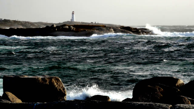 peggys cove storm 1 - lighthouse stock videos and b-roll footage