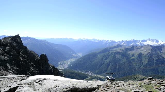 pejo, panorama at the pejo 3000, in trentino alto adige, italy. - trentino alto adige stock videos & royalty-free footage
