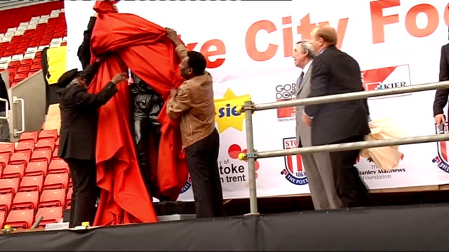 Pele and Gordon Banks at charity football match 12708 Stoke on Trent Brittania Stadium Pele Gordon Banks and Archbishop Desmond Tutu unveiling statue...