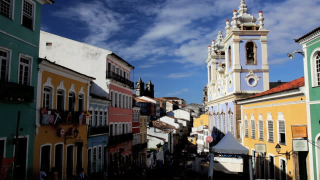 pelourinho historical center in old salvador, brazil, south america - bahia state stock videos & royalty-free footage