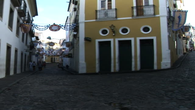 ws pan pelourinho street scene, salvador, bahia, brazil - bahia state stock videos and b-roll footage