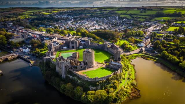 pembroke castle in wales - aerial hyperlapse - pembroke stock videos & royalty-free footage