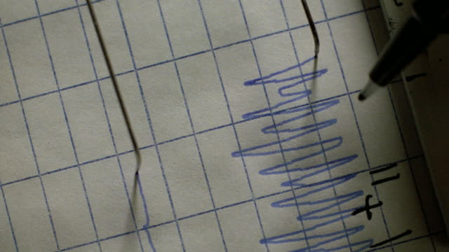 a pen marks points on a polygraph. - interrogation stock videos and b-roll footage