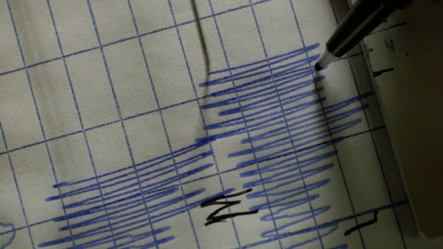 a pen marks points on an active polygraph. - interrogation stock videos & royalty-free footage