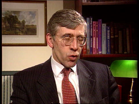 London Westminster Jack Straw MP intvw SOT He's bringing forward these plans because of govt's failure to tackle crime over last 17yrs / crime has...