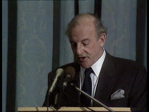 Penal policy proposals ITN LIB London King's College Lord Chief Justice Taylor sits at table LMS Taylor speaking at podium CMS Lord Chief Justice...