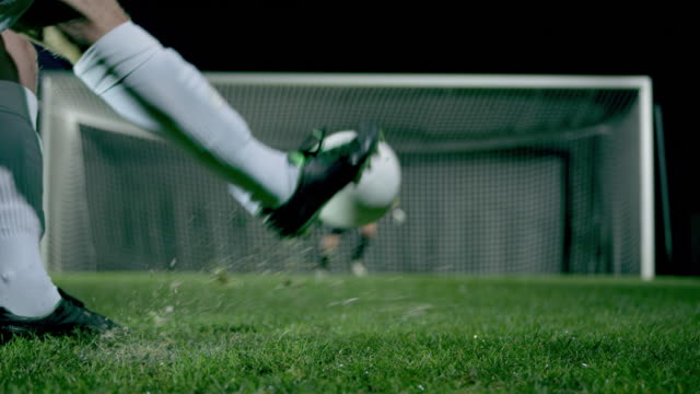 penalty kick with goalkeeper jump parade - tor konstruktion stock-videos und b-roll-filmmaterial