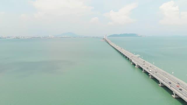 penang bridge landmark transportation - penang bridge stock videos and b-roll footage