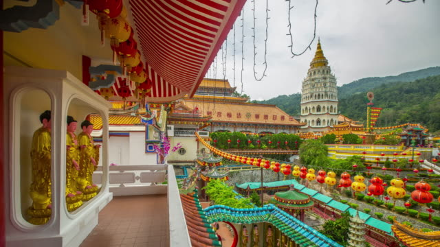penang  kek lok si malaysia buddha temple timelapse 4k video - penang stock videos and b-roll footage
