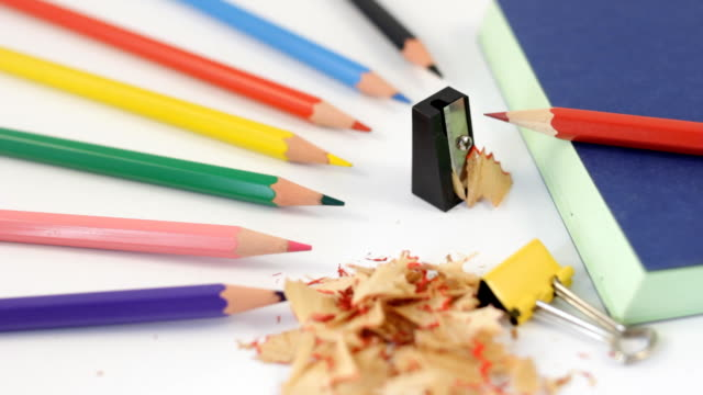 pencil sharpener - colored pencil stock videos and b-roll footage