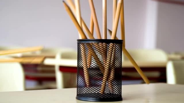 pencils falling to pencil case - school supplies stock videos & royalty-free footage