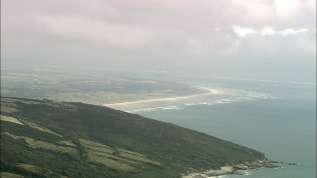 pendine sands  - aerial view - wales, carmarthenshire, united kingdom - pembrokeshire stock videos and b-roll footage