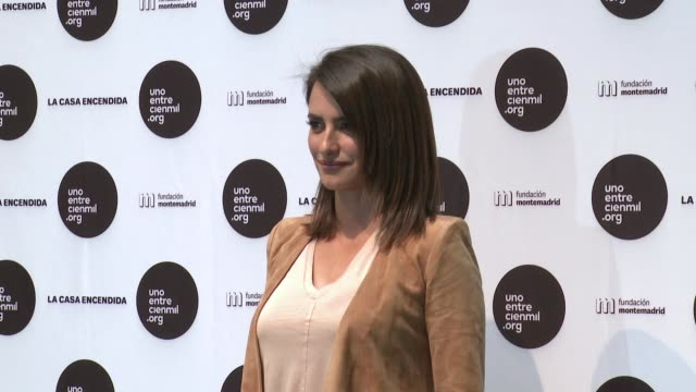 penelope cruz attends 'unoentrecienmil' charity event on april 24 2017 in madrid spain - penélope cruz stock videos and b-roll footage