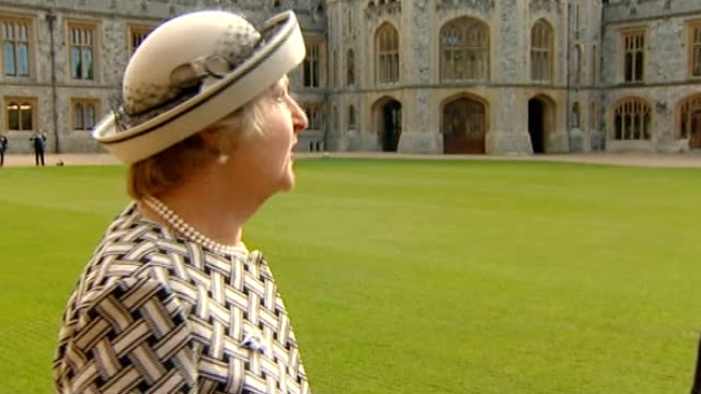 penelope keith becomes a dame at investiture at windsor castle; ext dame penelope keith interview sot - terribly exciting and very intimate - penelope keith stock-videos und b-roll-filmmaterial