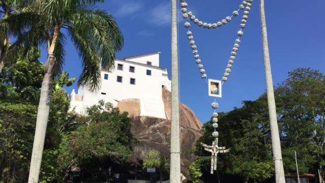 penha convent (penha convent) in vitoria, espirito santo, brazil - convent stock videos & royalty-free footage