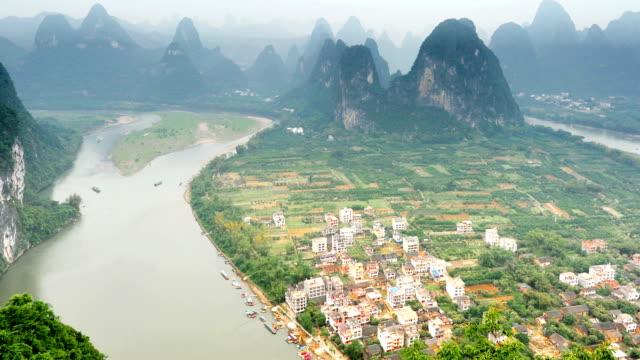 peninsula on the li river - li river stock videos & royalty-free footage