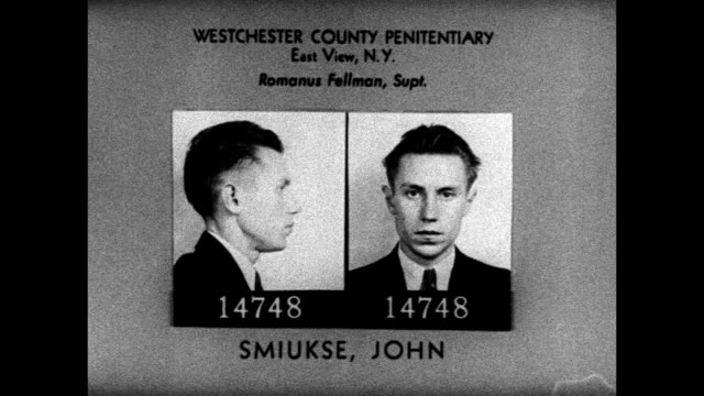 hd penitentiary mug shot of latvian immigrant john smiukse jailed reenactment 'john smiukse' in jail cell w/ two men in suits outside cell one taking... - mug shot stock videos & royalty-free footage