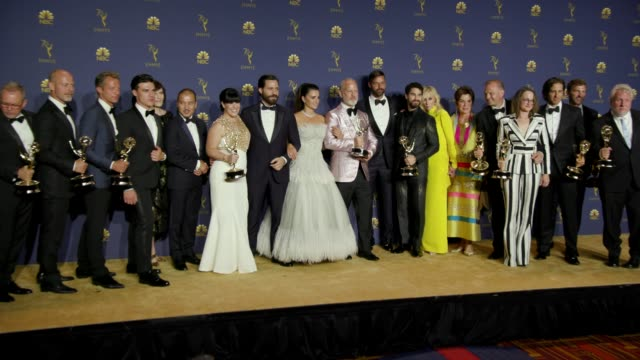 penélope cruz ryan murphy ricky martin and 'the assassination of gianni versace american crime story' at the 70th emmy awards photo room at microsoft... - emmy awards stock videos & royalty-free footage