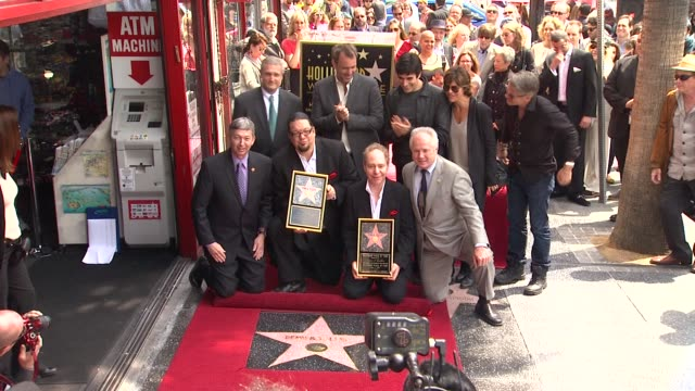 penn jillette teller david copperfield and trey parker at penn teller honored with star on the hollywood walk of fame in hollywood ca on 4/5/2013 - trey parker stock videos & royalty-free footage
