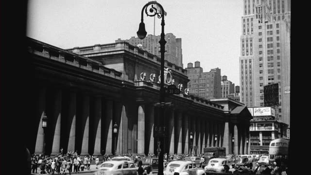 penn station exterior 7th avenue exterior penn station on january 01 1940 in new york new york - new york city penn station stock videos & royalty-free footage