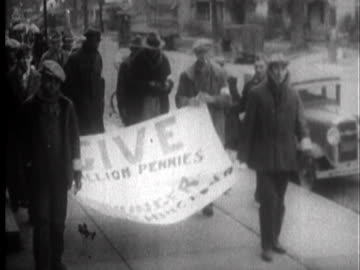 pennies are collected and the march begins. - great depression stock videos & royalty-free footage