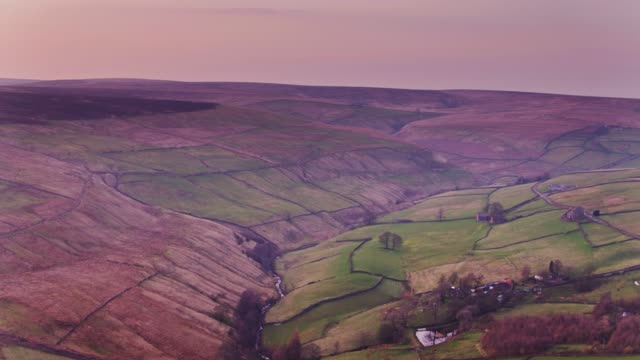 pennine valley at sunset - drone shot - pennines stock videos & royalty-free footage
