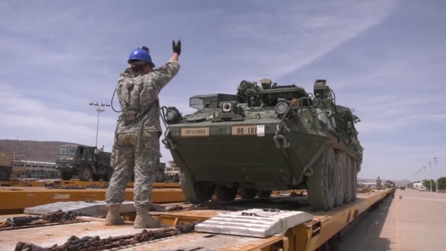 pennsylvania army national guard load tactical vehicles used during annual training at the national training center fort irwin california onto... - national guard stock videos and b-roll footage