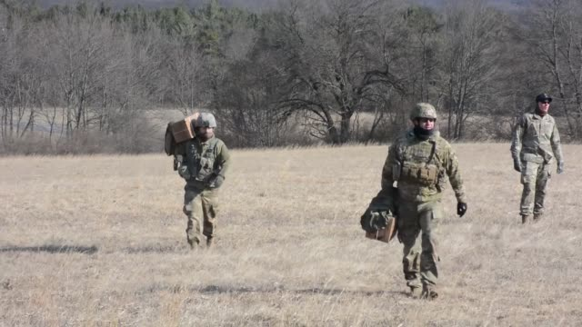 pennsylvania army national guard soldiers and one hawaii national guard soldier attended a cadrelead pathfinder course at fort indiantown gap march... - national guard stock videos and b-roll footage