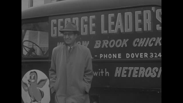 Pennsylvania Governorelect George M Leader and son enter farm house / sign Willow Brook Baby Chicks / Leader stands by chicken truck / VS at desk he...
