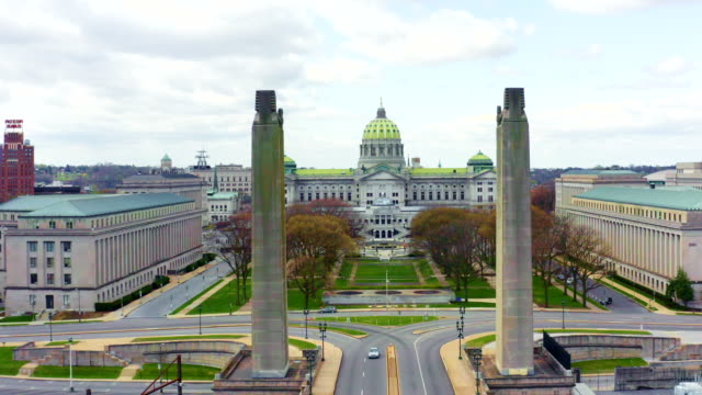 pennsylvania state capitol complex aerial - harrisburg - local government building stock videos & royalty-free footage