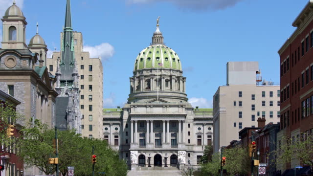 pennsylvania state capitol complex aerial - harrisburg - legislation stock videos & royalty-free footage