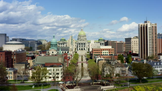 pennsylvania state capitol complex aerial - harrisburg - pennsylvania stock videos & royalty-free footage