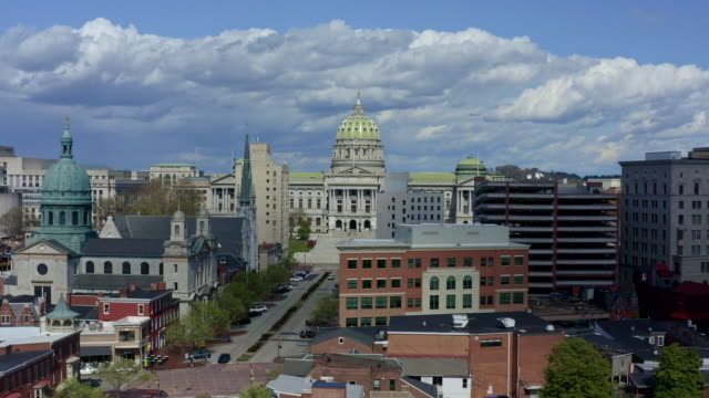 pennsylvania state capitol complex aerial - harrisburg - street name sign stock videos & royalty-free footage