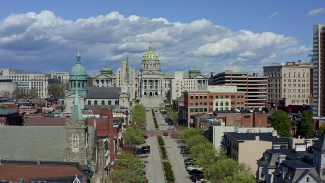 ペンシルベニア州議会議事堂空中 - ハリスバーグ - 米民主党点の映像素材/bロール