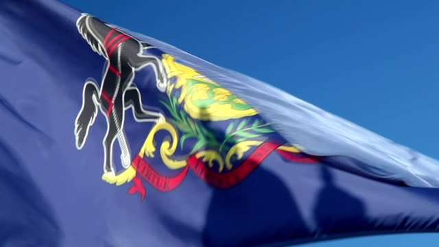 Pennsylvania State Flag waving in the wind - CU
