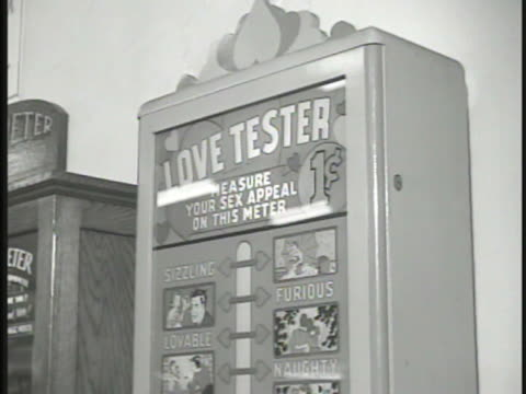 penny arcade machines the mystic eye love tester sign hear what gypsy queen has to tell you cu female arcade automaton in glass case moving head... - glass eye stock videos and b-roll footage