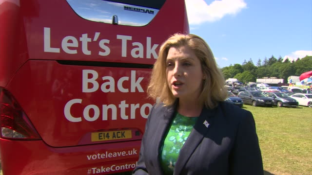 penny mordaunt putting forward views on the vote leave campaign nnbu042r - continuity stock videos & royalty-free footage