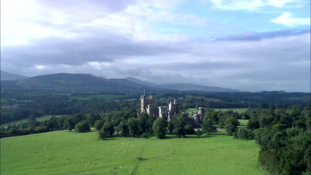 penryhn castle  - aerial view - wales, united kingdom - snowdonia stock videos & royalty-free footage