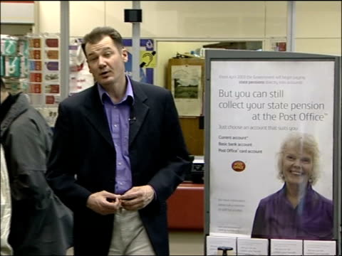 inland revenue blunder news at ten chris choi elderly man along to post office counter to collect pension pensioner waiting as man counting out... - collection stock videos & royalty-free footage