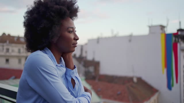pensive african-american business woman thinking about her day - introspection stock videos & royalty-free footage