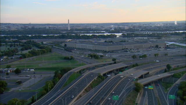 AERIAL Pentagon and Arlington Cemetery, Washington Monument in distance, Arlington, Virginia, USA