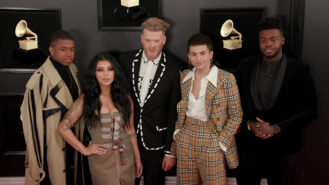 stockvideo's en b-roll-footage met pentatonix at the 61st grammy awards arrivals at staples center on february 10 2019 in los angeles california – editorial - grammy awards