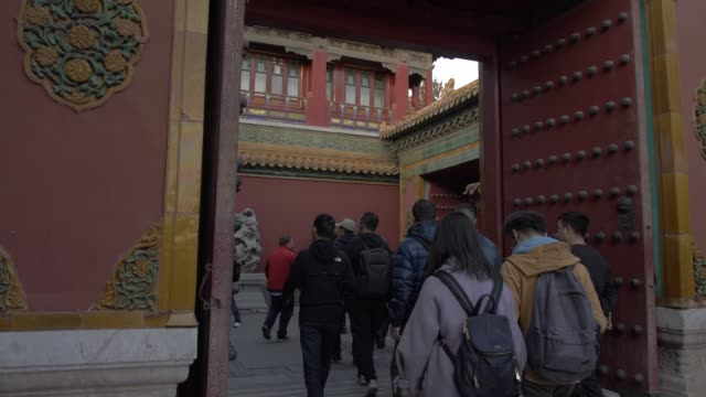 people and architecture inside the forbidden city, unesco world heritage site, beijing, china, asia - forbidden city stock videos & royalty-free footage