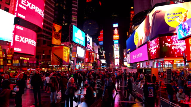 people and billboard on time square - digital signage stock videos and b-roll footage
