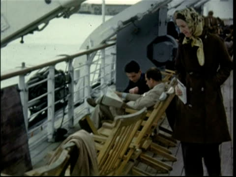 1950 people and deck chairs, on board the gratis ferry en route from dover to ostende - dover england stock videos and b-roll footage